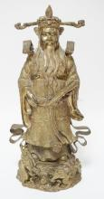 BRONZE STATUE OF A CHINESE MAN HOLDING A SCROLL. 18 1/4 IN TALL.