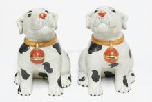 PAIR OF CHINESE PORCELAIN DOG FIGURES. 9 IN TALL.