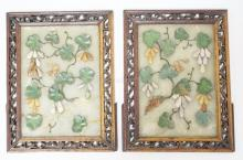 PAIR OF CHINESE STONE PANELS WITH APPLIED LEAVES & FRUIT. ONE PANEL REPAIRED. 7 1/2 X 5 3/4 IN