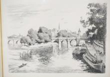 FRENCH ETCHING OF A CANAL. 9 X 6 1/4 IN. *EAU FORTE ORIGINALE*