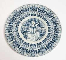BJORN WINNBLAD NYMOLLE DENMARK BLUE & WHITE PLATE. 10 1/2 IN.