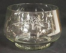 GLASS PUNCH BOWL; BELMONT PARK; HAS INTAGLIO