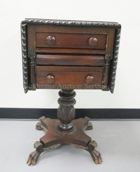 Carved Empire 3 Drawer Stand With Drop Leaves And Claw Feet 30 Inches Tall 16 X 16 Inch Top