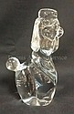 SIGNED DAUM, FRANCE LARGE CRYSTAL POODLE; 9 1/4 IN