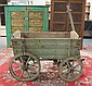 ANTIQUE WOODEN WAGON; PTD GREEN; BODY IS 24 IN X