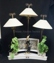 MOSS MID CENTURY MODERN WHITE PLEXIGLASS 3 LIGHT SPINNER CORNER LAMP W/