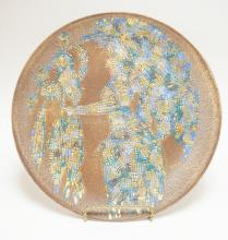 SASCHA BRASTOFF MOSAIC CHARGER W/ 2 FIGURES. 16 1/2 IN DIA NO. M-10