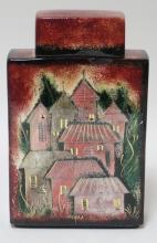 SASCHA BRASTOFF RECTANGULAR COVERED JAR W/ HOUSES. 10 1/2 IN H  NO, D-45-B