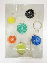 HIGGINS FUSED GLASS EXECUTIVE ASH TRAY W/ DECORATION OF POCKET WATCHES.  14 IN X 9 3/.4 IN