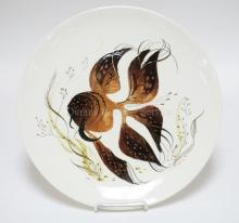 LARGE SASCHA BRASTOFF PLATE WITH FISH & SEAWEED. 14 IN DIA.