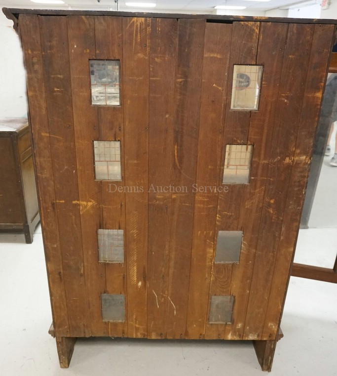 Folk art walnut 2 door cabinet fashioned as a doll house wit for 1076 door contact