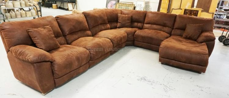 6 Piece Sectional Sofa In Faux Brown Leather 2 Reclining Se