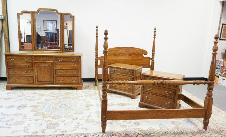 4 piece oak bedroom set by ethan allen low chest with mirro