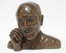 BRONZE BUST OF A MAN SIGNED *(YELTA?) COLIN '89*. 13 1/4 IN HIGH, 15 3/4 IN WIDE.