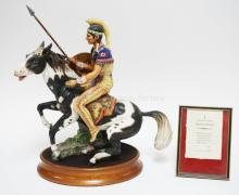 ROYAL DOULTON LIM ED #176 *INDIAN BRAVE* FIGURE WITH CERTIFICATE. 16 1/2 IN TALL. REINS MISSING & CRACK IN WOODEN LANCE.