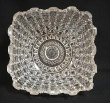 AMERICAN BRILLIANT PERIOD CUT GLASS SQUARE STRAWBERRY BOWL. 9 1/4 IN SQUARE, 4 3/4 IN DEEP. 1 CHIPPED POINT IN PATTERN.