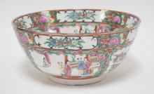 LARGE CHARACTER SIGNED ROSE MEDALLION BOWL. 11 7/8 IN DIA, 5 1/2 IN H