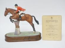 ROYAL WORCESTER *FOXHUNTER AND LT COL H.M. LLEWELLYN, C.B.E.* LIM ET 364/500 WITH CERTIFICATE. 11 3/4 IN TALL.