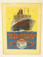 FRAMED STEAMSHIP POSTER. *LES MESSAGERIES MARITIMES, FONT LE TOUR DU MONDE*. SHIP IS THE CHAMPOLLION. ARTIST SIGNED SANDY HOOK. 21 3/4 IN X 30 IN