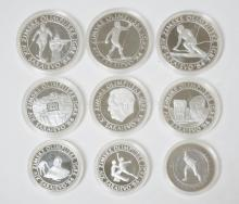 NINE 1984 OLYMPIC STERLING SILVER COINS. 5.1 TOTAL T OZ
