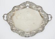 GORHAM *CHANTILLY* LARGE STERLING SILVER TRAY. 17 3/4 IN ACROSS THE HANDLES.  38.28 T OZ. MONOGRAMMED