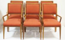 SET OF 6 GIO PONTI MID CENTURY MODERN DINING CHAIRS. ALL HAVE ARMS AND UPHOLSTERED SEATS AND BACKS. DOVETAILED BRACES UNDER THE SEATS. 37 IN H, 21 IN WIDE.