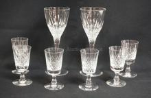 6 PC SIGNED CUT CRYSTAL LOT: PAIR OF 7 1/2 IN STUART GOBLETS AND A SET OF 6 THOS. WEBB 4 IN CORDIALS.