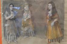 FRAMED PASTEL OF 3 WOMEN. 1985 SIGNED AND ANNOTATED. 22 3/4 X 17 1/4