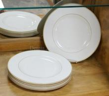 SET OF 6 VILLEROY AND BOCH *CHARLESTON GOLD PLATES. 10 7/8 IN
