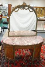 EXCEPTIONAL FRENCH PAINT DECORATED DEMILUNE VANITY W/ SATINWOOD INLAY OF BOWS AND SWAGS. HAS A  CUT MIRROR, CENTER DRAWER, 2 DOORS AND SECRET DRAWERS ON EITHER SIDE. 50 1/2 IN WIDE. FINISHED TOP UNDER THE MULTI COLORED BEVELLED MARBLE.