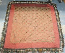 WOVEN TABLE COVER W/ FEATHER BORDER. APP 52 IN SQUARE