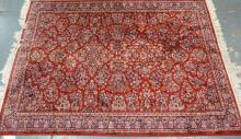 RED ORIENTAL RUG. 7 FT 8 IN X 5 FT 7 IN
