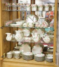 142 PC FRANCISCAN DESERT ROSE DINNERWARE. INCLUDES GLASSWARE. SMALL NICK ON ONE SHAKER. BREAKDOWN AVAILABLE. LOT INCL. ORIG 1943 PRICE LIST.