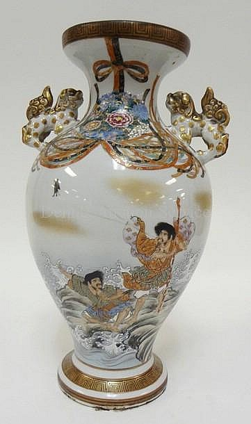 HAND PAINTED ORIENTAL VASE W/WARRIORS ON A ROCKY