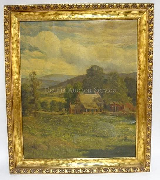 FRAMED O/C FARM SCENE, TITLED *A MOUNTAIN HOME* BY