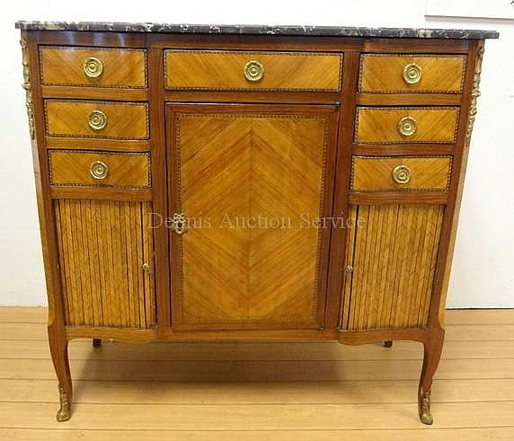 18TH C. FRENCH INLAID & BRONZE MTD CABINET W/BLACK