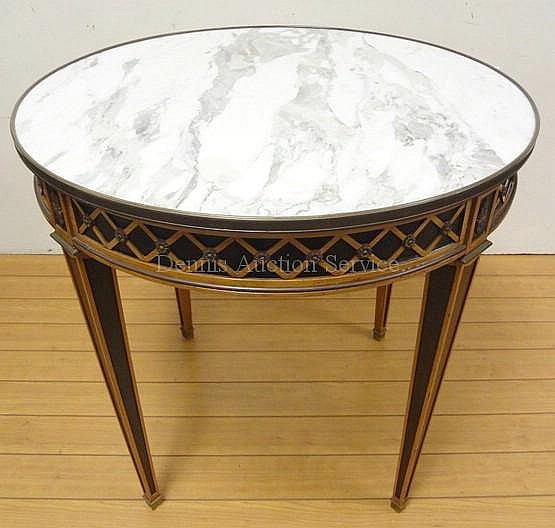 BRONZE MOUNTED FRENCH MARBLE TOP TABLE W/LATTICE
