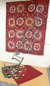 2 PC TEXTILE; EMBROIDERED WALL HANGER W/GEOMETRIC & FLORAL DESIGN (69 1/2 IN X 88 IN) & A COLORFUL TRIANGULAR TABLE COVER W/BEADED FRINGE (62 1/2 IN X 51 IN)