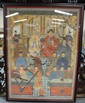 LARGE FRAMED ANTIQUE CHINESE PAINTING; 55 1/2 IN X 75 IN