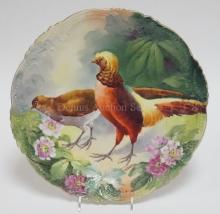 UNMARKED HAND PAINTED WALL PLATE W/ BIRDS AND FLOWERS. 14 IN. ARTIST SIGNED.