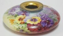 VIENNA AUSTRIA SQUATTY VASE/FLOWER CENTER HAND PAINTED WITH FLOWERS. 10 1/2 IN DIA. SOME WEAR TO GOLD RIM