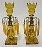 PR OF AMBER CUT GLASS CANDLESTICKS W/AMBER CUT