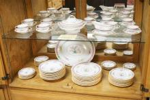 80 PIECE ROYAL DOULTON *LILIAN* PATTERN (E7634) PARTIAL DINNERWARE SET. RETAILED AT DEVIS COLLAMORE & CO, 5TH AVE NY. BREAKDOWN AVAILABLE UPON REQUEST. PLATTER MEASURES 17 INCHES.