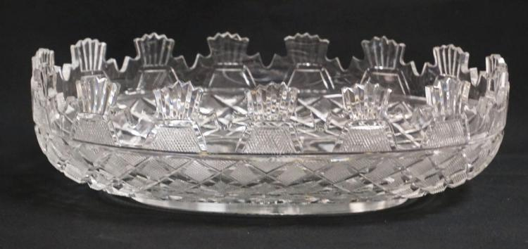 WATERFORD *KENNEDY* CUT CRYSTAL BOWL. 13 3/4 INCHES LONG. 9 1/2 INCHES WIDE. 4 1/8 INCHES HIGH. THE KENNEDY BOWL WAS MADE TO COMMEMORATE PRESIDENT KENNEDY'S VISIT TO IRELAND IN 1961, DURING THE TRIP HE WAS GIVEN THE ORIGINAL BOWL AS A PRESENTATION PIECE. THE ORIGINAL BOWL STILL RESIDES IN THE WHITE HOUSE.