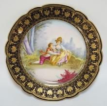 SEVRES HAND PAINTED CABINET PLATE. ARTIST SIGNED DELAITRE. 9 1/2 INCH DIA. STAMPS ON BACK READ SEVRES AND CHATEAU DE TUILERIES.