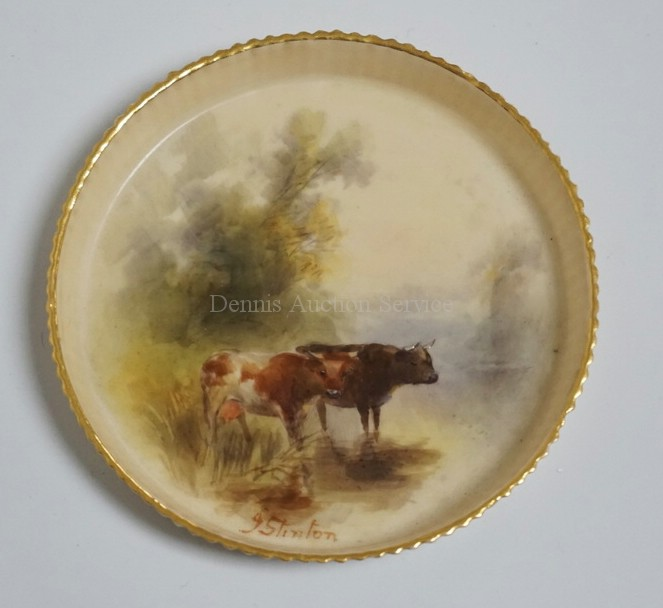 1904 ROYAL WORCESTER HAND PAINTED PORCELAIN DISH DECORATED WITH COWS AND TREES. 3 1/2 INCH DIA. ARTIST SIGNED *STINTON*.