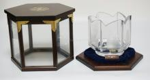 KOSTA CRYSTAL *SHIPS BOWL* 1978. COMES IN THE ORIGINAL DISPLAY CASE. LIMITED EDITION #90/375. 6 3/4 INCHES HIGH.