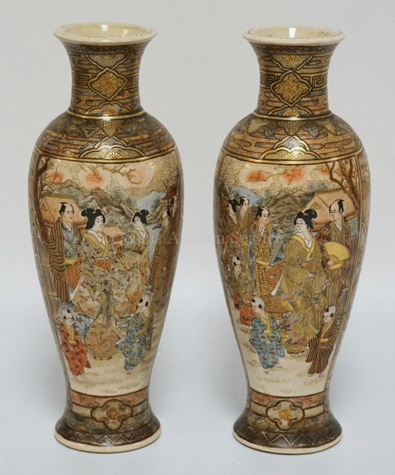 PAIR OF SATSUMA VASES DECORATED WITH PANELS OF JAPANESE PEOPLE AND CHILDREN. 12 INCHES HIGH.