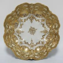 NIPPON PORCELAIN BOWL WITH LOBED SIDES.  HEAVILY DECORATED WITH GOLD. 11 3/4 INCH DIA. 3 5/8 INCHES HIGH.