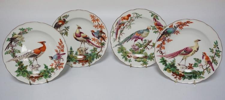 SET OF 4 MOTTAHEDEH COLONIAL WILLIAMSBURG PORCELAIN PLATES EACH WITH POLYCHROME DECORATIONS OF BIRDS. MODELLED AFTER ENGLISH PLATES FROM 1765 IN THE COLLECTION OF THE COLONIAL WILLIAMSBURG FOUNDATION. 8 1/4 INCH DIA.